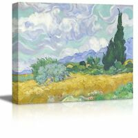 """Wheat Field with Cypresses by Vincent Van Gogh-Oil Painting on Canvas- 16"""" x 20"""""""