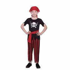 Classic Skull Pirate Boys Halloween Costume Size Large Black, Red Stripe #5013