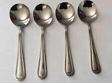 Set of 4 DOTS Round Soup/Bouillon/Cream/Chowder Spoons * NEW * Mirror Finish