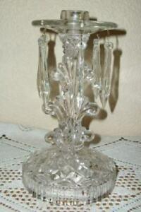 1920s ORNATE GLASS CANDLE HOLDER PRISMS FRENCH FARMHOUSE ART DECO ERA ANTIQUE