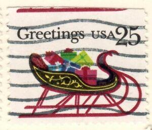 US EFO Scott #2429a  25c Christmas Sleigh single misperf used!!