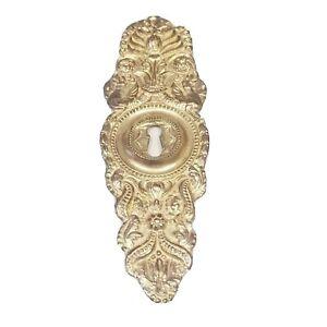 """7"""" Escutcheon Keyhole Cover Door Victorian Antique Art Nouveau Ornate Brass 2.8"""
