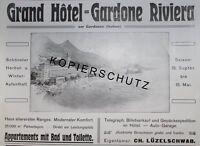 Grand Hotel Gardone Riviera Gardasee Lüzelschwab Werbeanzeige anno 1908 Reklame