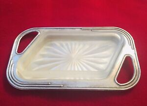 VINTAGE Crusader EPNS  BUTTER Jam   Condiments DISH FROSTED GLASS INSERT