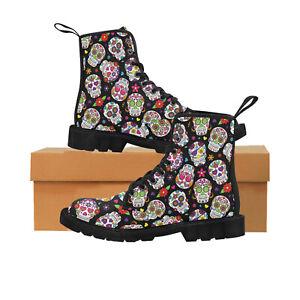 Sugar Skull Ladies Lace Up Boots, Festival, Punk, Rock, Goth, Alternative 4-8.5