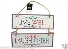 Live Well Laugh Often Wooden Hanging Sign with Jute Hanger Shabby Chic