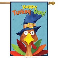 "Turkey Day Thanksgiving House Flag Holiday Humor 28"" x 40"" Briarwood Lane"