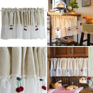 Cherry Half Curtain Rod Pocket Hemp Lace Small Curtains Kitchen Cabinet Drapes