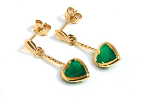 9ct Gold Green Agate Heart Drop earrings Gift Boxed Made in UK