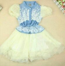 NEW With Tag Denim Ruffle Lace Dress With Puff Sleeve Size 4
