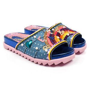 Irregular Choice Sandals Love Peace Rainbow Beach Cat Slip On Sliders Blue