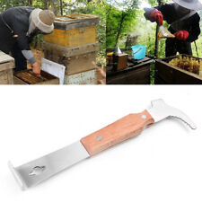 1pc Wooden Handle Bee Hive Hook Scraper Stainless Steel Beekeeping Tools