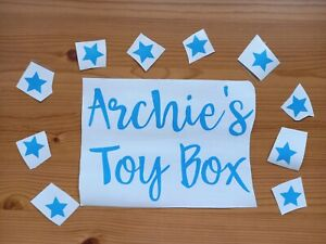 Personalised Toy Box Vinyl Decal Sticker With 10 stars, Different Colours, Fonts