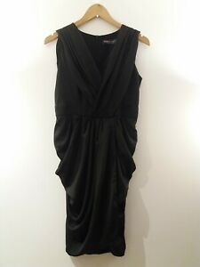 Celeb boutique dress Size 12 Black Ruffle Grecian Style Party Occasion Ee