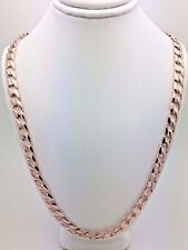 "10k Rose Gold Solid Flat Cuban Link Chain Necklace 28"" 6.3mm 39 grams"