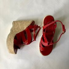 Yves Saint Laurent YSL red leather platform espadrille wedges UK3.5 EU36.5