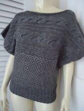 GRIFFLIN PARIS Sweater L Dolman Sleeve Pullover Knit  Gray Heather MultiKnit NEW