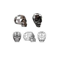 Swarovski Crystal Beads Faceted Skull 5750 Silver Night 14x13x10mm