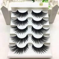 5 Pairs 100% Real Mink 3D Volume Corner Thick False Eyelashes Strip Lashes cn