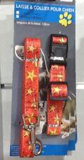 Lot Corail Collier réglable 20mm x 35-55cm et Laisse mousqueton 120cm pour chien