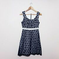 Review Size 10 Navy Blue Floral Lace Fit & Flare Dress