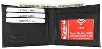 Mens Bifold Leather RFID Blocking Black CreditCard/ID Security Wallet Marshal