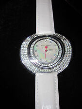 BETSEY JOHNSON WHITE AND LOTS OF BLING WATCH