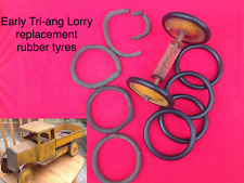 Set of 4 Black Rubber tyres for early Tri-ang Triang  pressed steel lorries etc.