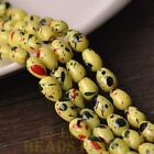 New 20pcs 11X8mm Teardrop Colorized Dots Loose Glass Spacer Beads Lemon Yellow