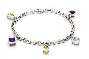 Sterling Silver Belcher Bracelet ~Gemstone Garnet Topaz Citrine Amethyst Peridot