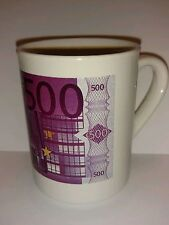 Collectible coffee mug Euro European money 500 euros denomination