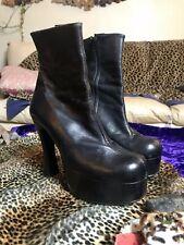 Vintage 90s y2k Luichiny Heels Black Ankle Boots Platform Raver Spice Girls 39 8