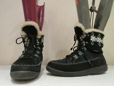 VINTAGE TECHNICA BLACK SUEDE HAIR LACE UP WINTER BOOTS UK 4.5  (3363)