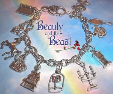 BEAUTY AND THE BEAST THEMED CHARMS BRACELET PRINCESS BELLE ROSE IN GIFT BAG