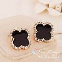 18K Gold Plated Diamond Stylish 11mm Black Four Leaf Clover Stud Earrings