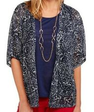 XS Womens 2fer Top with Flowy Cardigan WHITE STAG navy blue leopard animal print