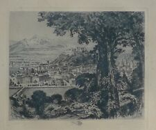 BLICK AUF DIE STADT SALZBURG -ÖSTERREICH -ORIGINAL RADIERUNG UM 1900