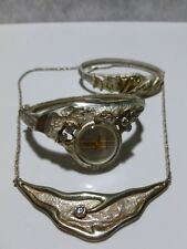 MODERN DESIGNER STERLING SILVER WATCH BANGLE & BRACELET & NECKLACE LOT SET