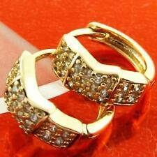 FS940 GENUINE 18K YELLOW G/F GOLD SOLID DIAMOND SIMULATED HUGGIE HOOP EARRINGS
