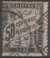 "FRANCE STAMP TIMBRE TAXE N° 20 "" TYPE DUVAL 50c NOIR "" OBLITERE TB"