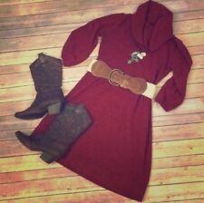 New Directions Cowl Neck Sweater Dress Crimson Sz 10