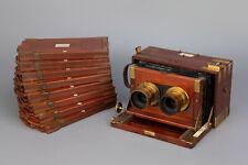 Rare Dallmeyer Stereo Mahogany Camera + Dallmeyer Stereo Landscape Brass Lenses