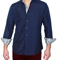 Suslo Couture M-22 Mens Navy Slim Fit Fashion Shirt Micro Dot w/ Paisley Sleeve