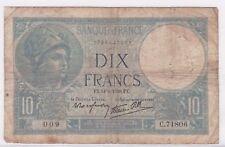BILLET 10 FRANCS MINERVE FX 14 9 1939 FX 009 C 71806