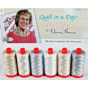 AURIFIL QUILT IN A DAY NEUTRALS ELEANOR BURNS 6 LARGE SPOOLS 50 WT COTTON