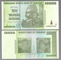 ZIMBABWE 10 TRILLION DOLLARS, 2008, P88, UNC AA PREFIX / FROM TRILLION SERIES