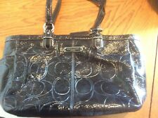 Coach F19462 Glossy Black Patent Leather Signature Embossed Tote Handbag Purse