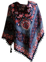 Colourful new floral paisley woman ladies folk vintage style scarf shawl fringe