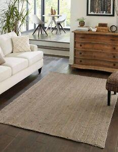 Jute Rug 100%Natural Hand Braided Grey Rectangle Floor Rug Modern Look Area Rugs