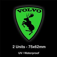 2x VOLVO PRANCING MOOSE Green Stickers Car Body Window Decals Badge R XC30 V40